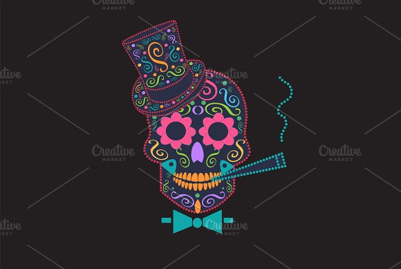 Skull Vector With Bow Tie