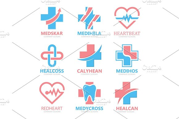 Set Of Medical Cross Logo Pharmacy Logo Design Template Tooth Logo Dental Logo Medical Center Logo Vector Medical Cross Logo Medical Center Logo Medical Logo Design Vector Logo Template