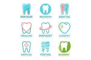 Set of tooth logo design template. Dental logo. Dental clinic logo. Tooth logo. Healthy tooth logo. Dentist logo. Oral logo. Vector logo template