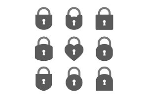 Set of Lock Icon