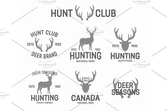Set Of Vintage Hunting And Deer Logo And Label Design Elements