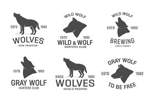 Vector set of wolf logo design elements
