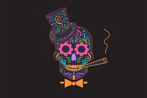 Skull vector with bow tie orange