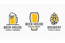 Set of vintage beer and pub logos. Labels with bottles, hops, and bocal