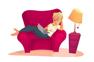 cartoon character. woman relaxing