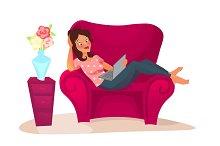 cartoon character. woman relaxing