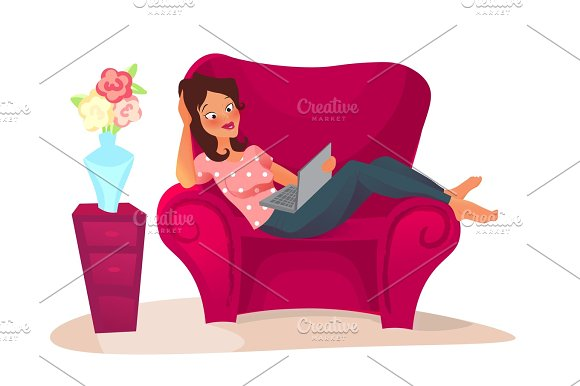 Cartoon Character Woman Relaxing