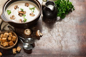 Delicious mushroom soup with cream