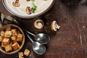 Delicious mushroom soup, above view