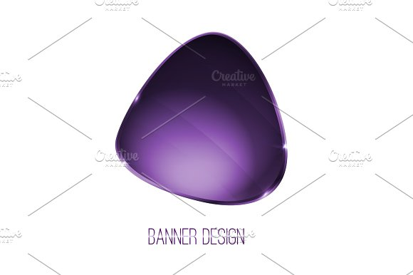 Vector Shiny Glossy Banner With Silver Metallic Surfice Violet Color
