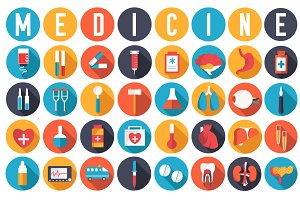 set of flat medical icons and organs