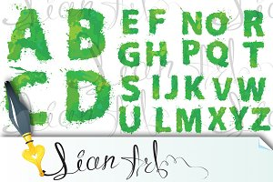 english alphabet of green watercolor