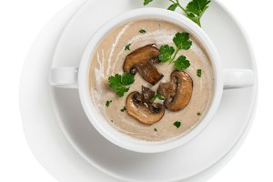 Above view of bowl of mushroom soup
