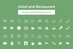 Hotel and Restaurant Vector Icons
