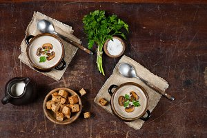Homemade champignon soup
