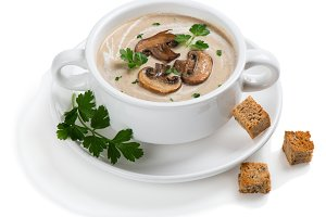 Bowl of spicy mushroom soup