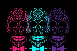 Skull vector with bow tie neon color