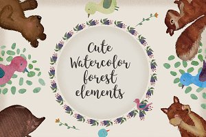 Cute Watercolor Forest cliparts