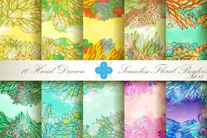 10 Floral Seamless Borders. Set#7