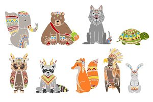 Animals Wearing Tribal Clothing Set