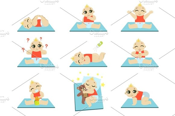 Cute Baby Icons Set