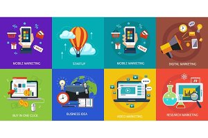 Business banners, start-up, buy in one click, business idea and mobile marketing. Vector flat