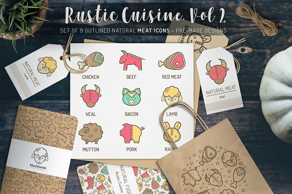 Rustic Cuisine Meat Icons Design