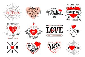Vector illustration of valentines day typography lettering logo set