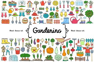 Vector set with gardening doodles
