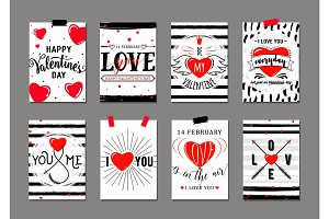 Vector illustration of valentines day greeting card templates