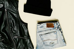 Black Vest and black accessories.