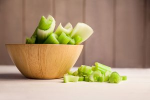 Celery in a bowl on the table