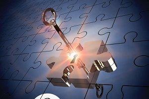 Key unlocking jigsaw