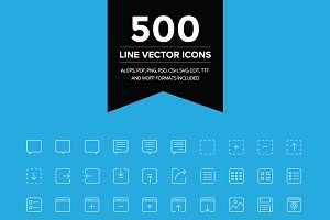 500 Line Vector Icons