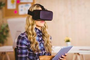 Pretty casual worker using oculus rift