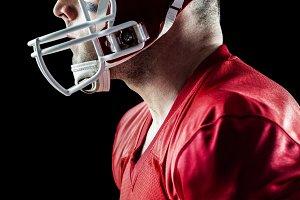 American football player side profile
