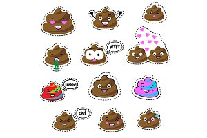 Poop stickers, icons. eps+ jpg