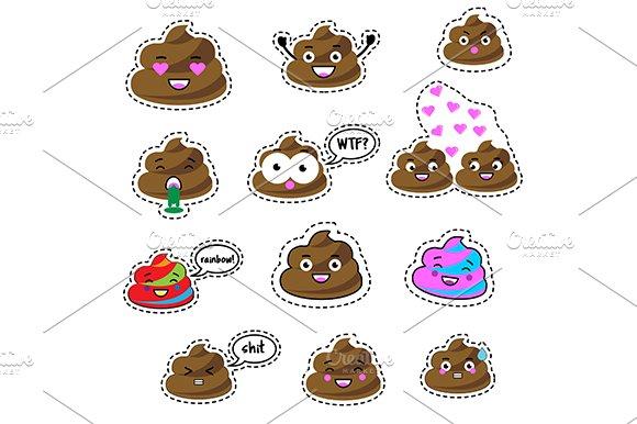 Poop Stickers Icons Eps Jpg