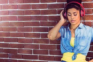 Pretty young woman with headphones