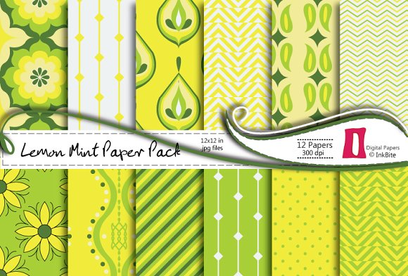 Lemon Mint Digital Paper Pack