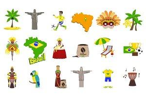 Traditional Brasilian Symbols With People Set