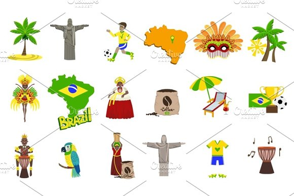 Traditional Brasilian Symbols With People Set