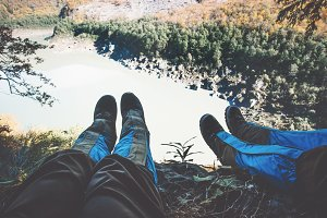 Feet selfie with lake aerial view