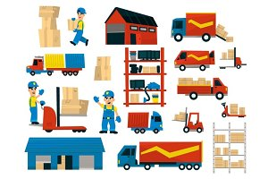 Set Of Illustrations With Storehouse Workers