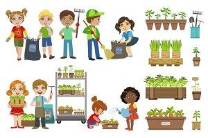 Kids Gardening And Picking Up Garbage Set