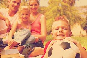 Little boy having fun with a soccer ball