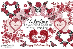 Valentines vector & clipart set