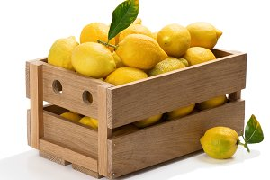 Lemons in a crate.
