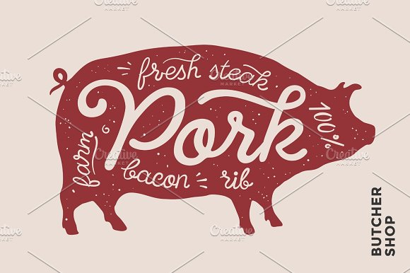 Pig Silhouette And Words Pork