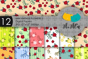 Mini vintage flowers patterns.